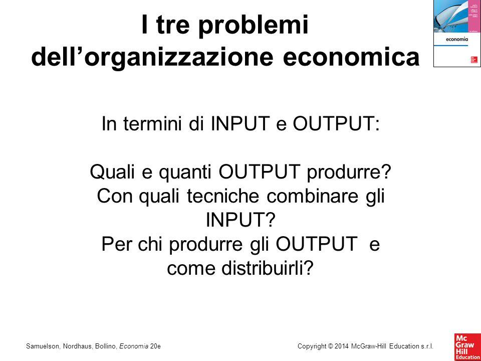 Samuelson, Nordhaus, Bollino, Economia 20eCopyright © 2014 McGraw-Hill Education s.r.l. In termini di INPUT e OUTPUT: Quali e quanti OUTPUT produrre?