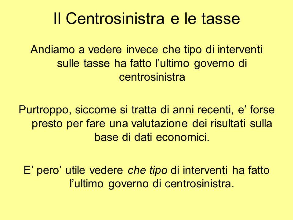 Il Centrosinistra e le tasse Andiamo a vedere invece che tipo di interventi sulle tasse ha fatto l'ultimo governo di centrosinistra Purtroppo, siccome si tratta di anni recenti, e' forse presto per fare una valutazione dei risultati sulla base di dati economici.