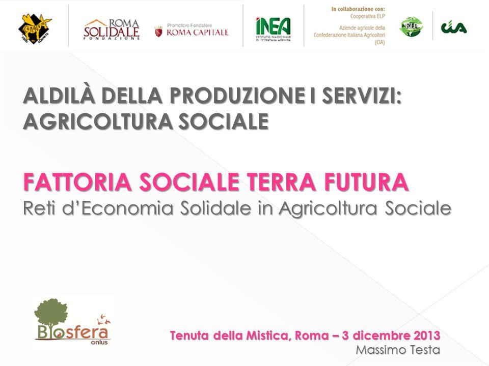 ALDILÀ DELLA PRODUZIONE I SERVIZI: AGRICOLTURA SOCIALE FATTORIA SOCIALE TERRA FUTURA Reti d'Economia Solidale in Agricoltura Sociale Tenuta della Mistica, Roma – 3 dicembre 2013 Massimo Testa