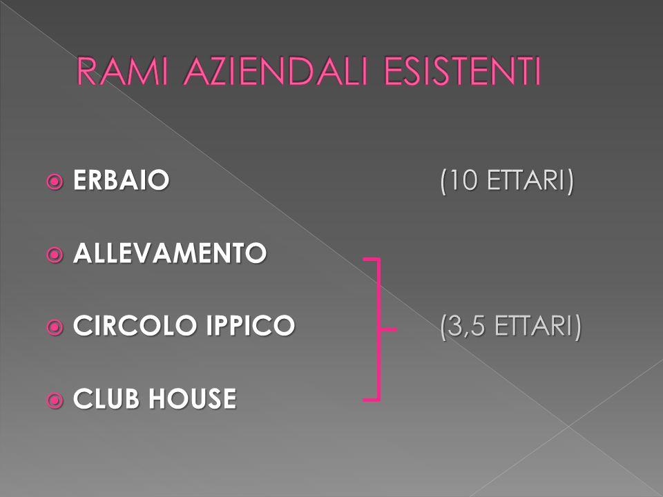  ERBAIO (10 ETTARI)  ALLEVAMENTO  CIRCOLO IPPICO (3,5 ETTARI)  CLUB HOUSE