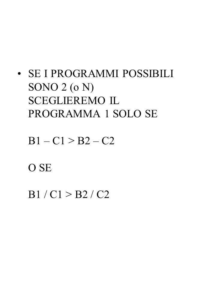 SE I PROGRAMMI POSSIBILI SONO 2 (o N) SCEGLIEREMO IL PROGRAMMA 1 SOLO SE B1 – C1 > B2 – C2 O SE B1 / C1 > B2 / C2