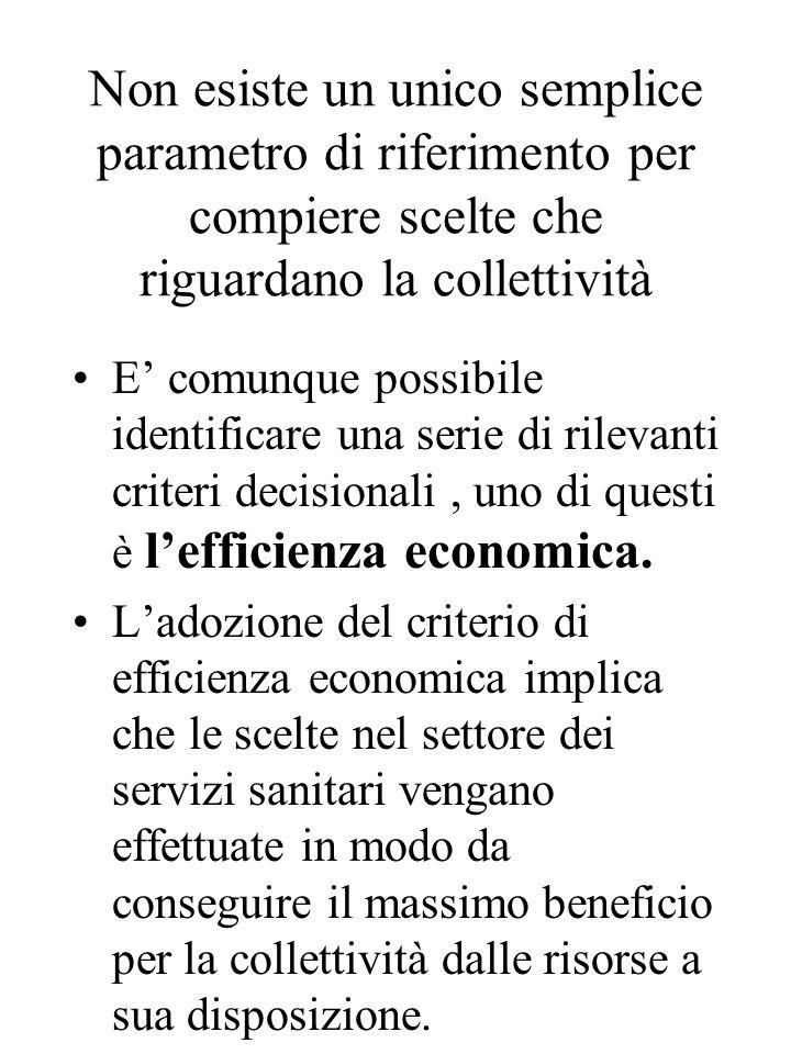 Non esiste un unico semplice parametro di riferimento per compiere scelte che riguardano la collettività E' comunque possibile identificare una serie di rilevanti criteri decisionali, uno di questi è l'efficienza economica.