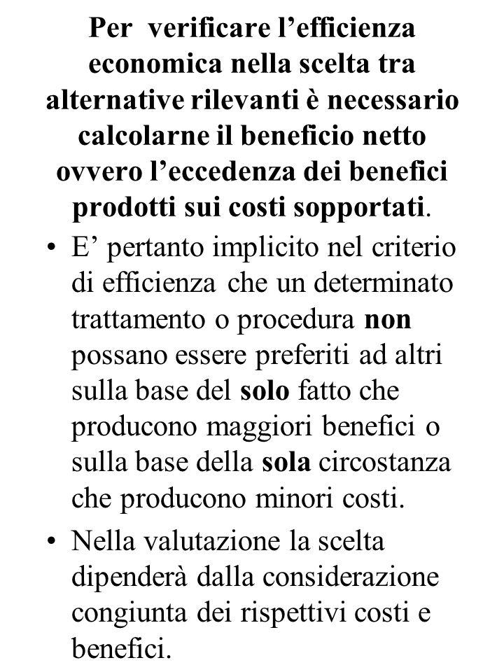 Per verificare l'efficienza economica nella scelta tra alternative rilevanti è necessario calcolarne il beneficio netto ovvero l'eccedenza dei benefici prodotti sui costi sopportati.