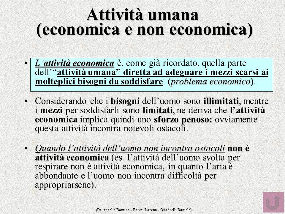 (De Angelis Romina - Foresi Lorena - Quadrelli Daniele) Attività umana (economica e non economica) L'attività economica problema economicoL'attività e