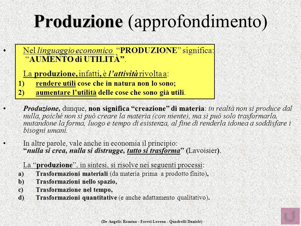 """(De Angelis Romina - Foresi Lorena - Quadrelli Daniele) Produzione Produzione (approfondimento) linguaggio economico AUMENTO di UTILITÀ""""Nel linguaggio"""