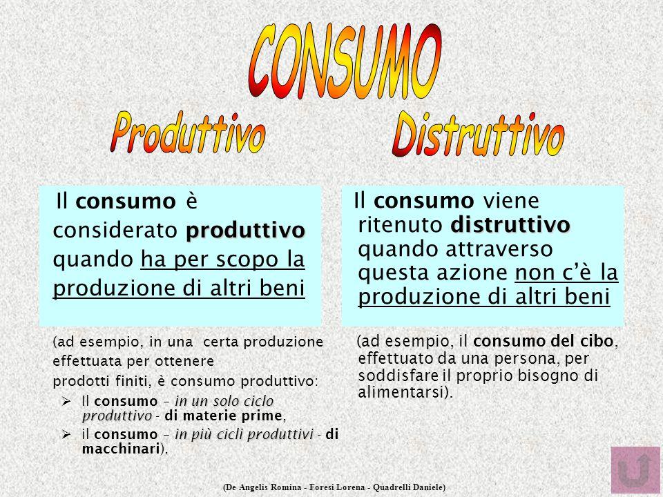 (De Angelis Romina - Foresi Lorena - Quadrelli Daniele) produttivo Il consumo è considerato produttivo quando ha per scopo la produzione di altri beni