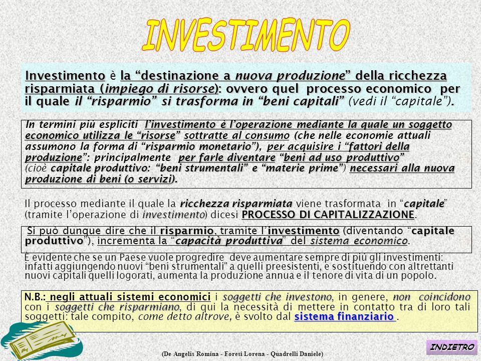"""(De Angelis Romina - Foresi Lorena - Quadrelli Daniele) Investimentola """"destinazione a nuova produzione"""" della ricchezza risparmiata (impiego di risor"""