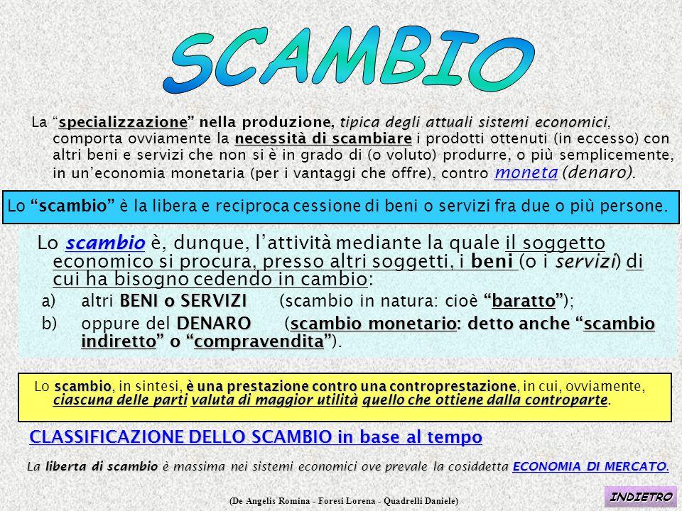 """(De Angelis Romina - Foresi Lorena - Quadrelli Daniele) specializzazionetipica degli attuali sistemi economici necessità di scambiare La """"specializzaz"""