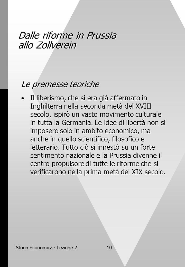 Storia Economica - Lezione 210 Dalle riforme in Prussia allo Zollverein Le premesse teoriche Il liberismo, che si era già affermato in Inghilterra nella seconda metà del XVIII secolo, ispirò un vasto movimento culturale in tutta la Germania.