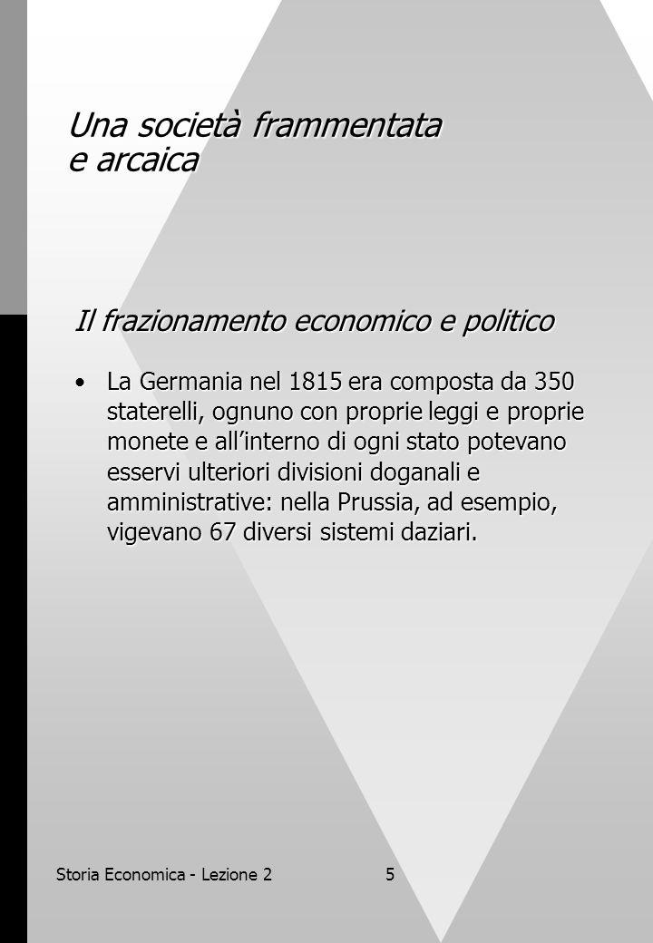 Storia Economica - Lezione 25 Una società frammentata e arcaica Il frazionamento economico e politico La Germania nel 1815 era composta da 350 staterelli, ognuno con proprie leggi e proprie monete e all'interno di ogni stato potevano esservi ulteriori divisioni doganali e amministrative: nella Prussia, ad esempio, vigevano 67 diversi sistemi daziari.La Germania nel 1815 era composta da 350 staterelli, ognuno con proprie leggi e proprie monete e all'interno di ogni stato potevano esservi ulteriori divisioni doganali e amministrative: nella Prussia, ad esempio, vigevano 67 diversi sistemi daziari.