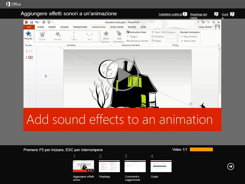 1234 Riepilogo del corso Guid a Aggiungere effetti sonori a un animazione Sottotitoli codificati Video 1/1 Aggiungere effetti sonori RiepilogoCommenti e suggerimenti Guida 4:32 Premere F5 per iniziare, ESC per interrompere Immagina di avere a disposizione gli effetti audio perfetti per un animazione ma di non conoscere la procedura ideale per aggiungerli.