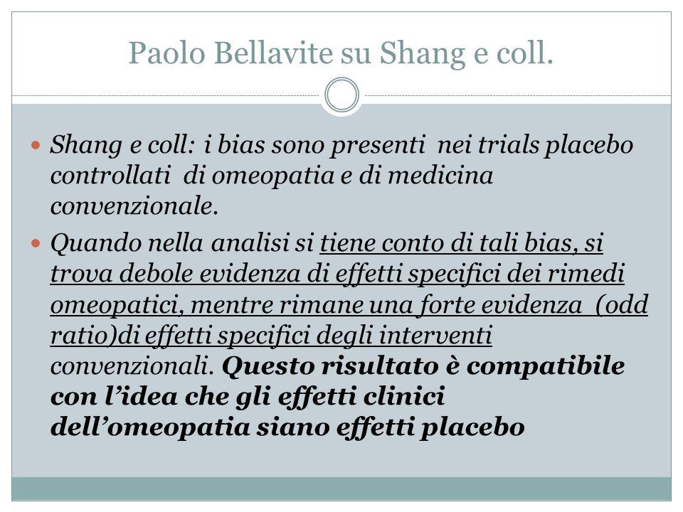 Paolo Bellavite su Shang e coll. Shang e coll: i bias sono presenti nei trials placebo controllati di omeopatia e di medicina convenzionale. Quando ne