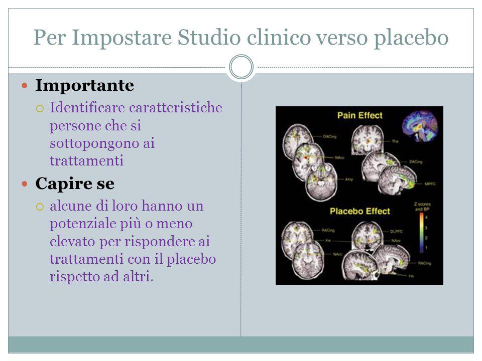 Per Impostare Studio clinico verso placebo Importante  Identificare caratteristiche persone che si sottopongono ai trattamenti Capire se  alcune di