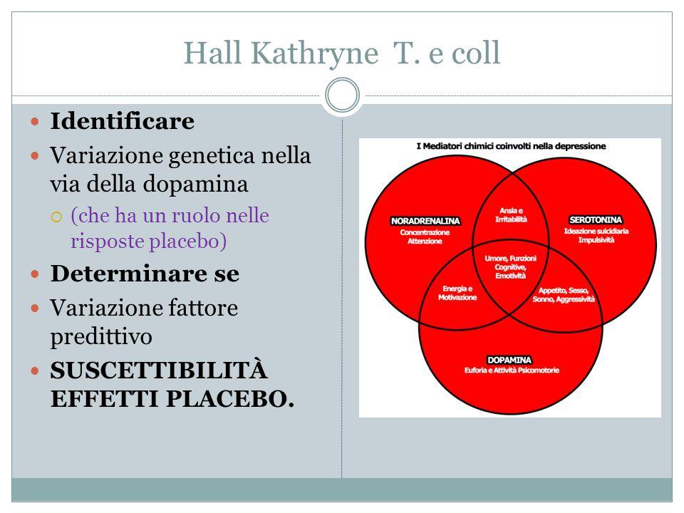 Hall Kathryne T. e coll Identificare Variazione genetica nella via della dopamina  (che ha un ruolo nelle risposte placebo) Determinare se Variazione