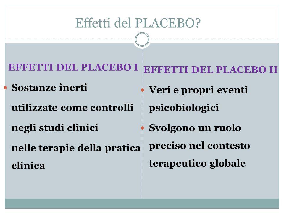 Effetti del PLACEBO? EFFETTI DEL PLACEBO I Sostanze inerti utilizzate come controlli negli studi clinici nelle terapie della pratica clinica EFFETTI D