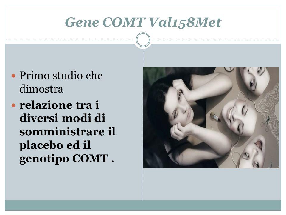 Gene COMT Val158Met Primo studio che dimostra relazione tra i diversi modi di somministrare il placebo ed il genotipo COMT.