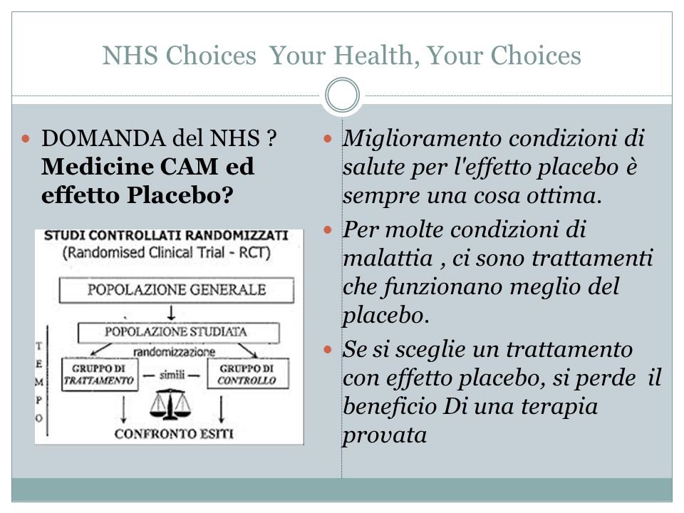 NHS Choices Your Health, Your Choices DOMANDA del NHS ? Medicine CAM ed effetto Placebo? Miglioramento condizioni di salute per l'effetto placebo è se