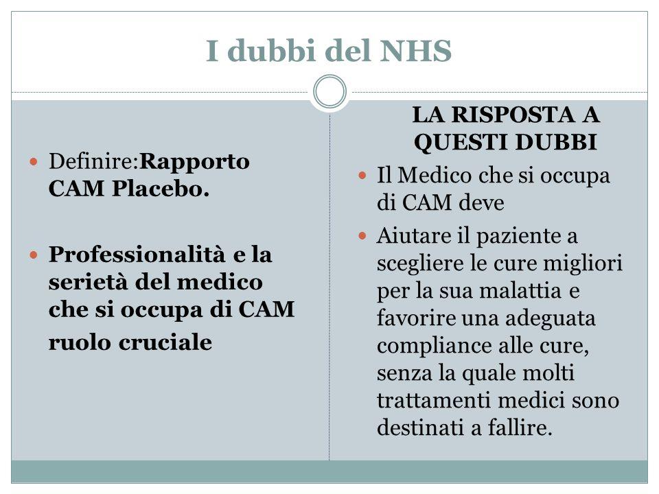 I dubbi del NHS Definire:Rapporto CAM Placebo. Professionalità e la serietà del medico che si occupa di CAM ruolo cruciale LA RISPOSTA A QUESTI DUBBI