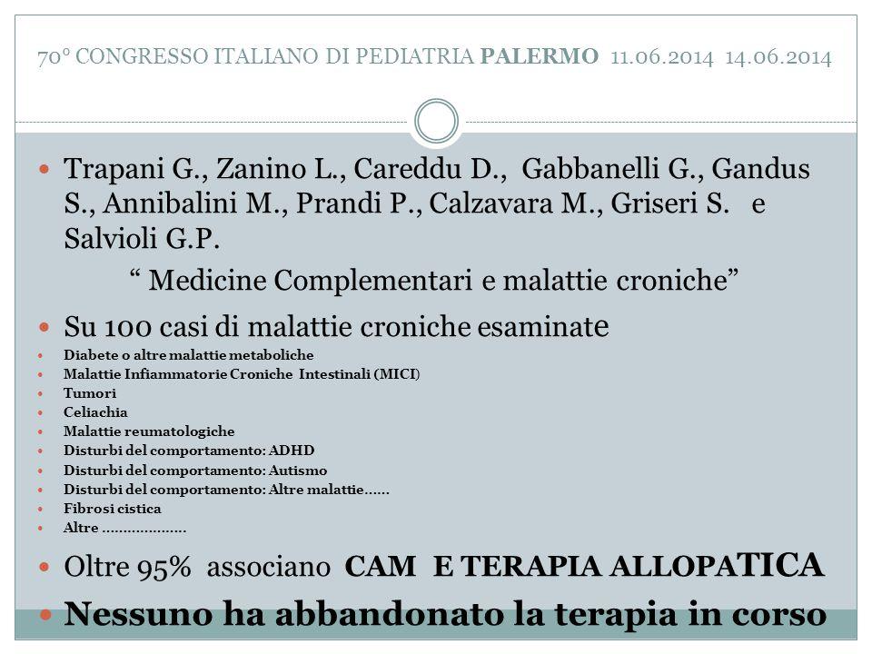 70° CONGRESSO ITALIANO DI PEDIATRIA PALERMO 11.06.2014 14.06.2014 Trapani G., Zanino L., Careddu D., Gabbanelli G., Gandus S., Annibalini M., Prandi P