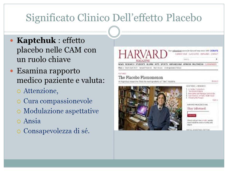 Significato Clinico Dell'effetto Placebo Kaptchuk : effetto placebo nelle CAM con un ruolo chiave Esamina rapporto medico paziente e valuta:  Attenzi