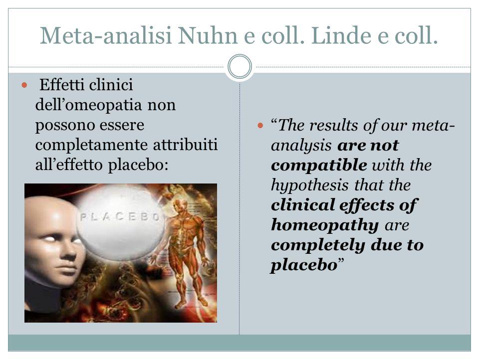 """Meta-analisi Nuhn e coll. Linde e coll. Effetti clinici dell'omeopatia non possono essere completamente attribuiti all'effetto placebo: """"The results o"""