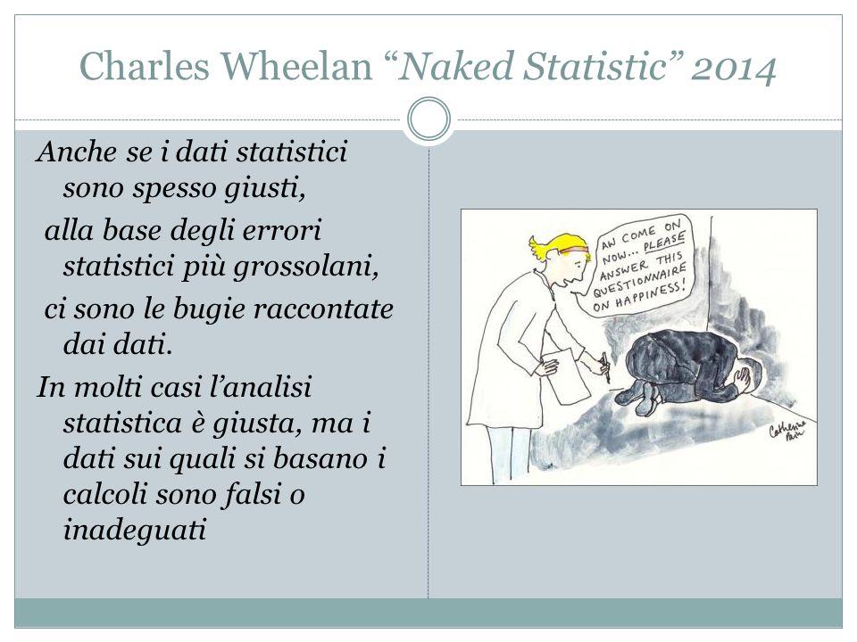 """Charles Wheelan """"Naked Statistic"""" 2014 Anche se i dati statistici sono spesso giusti, alla base degli errori statistici più grossolani, ci sono le bug"""