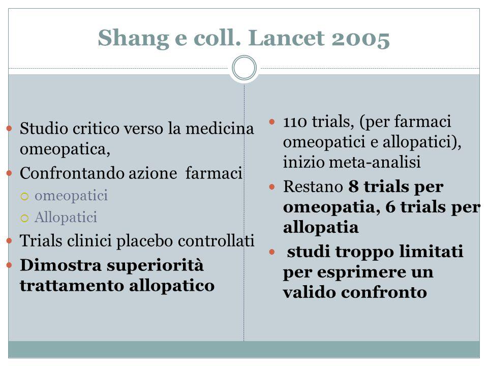 Shang e coll. Lancet 2005 Studio critico verso la medicina omeopatica, Confrontando azione farmaci  omeopatici  Allopatici Trials clinici placebo co