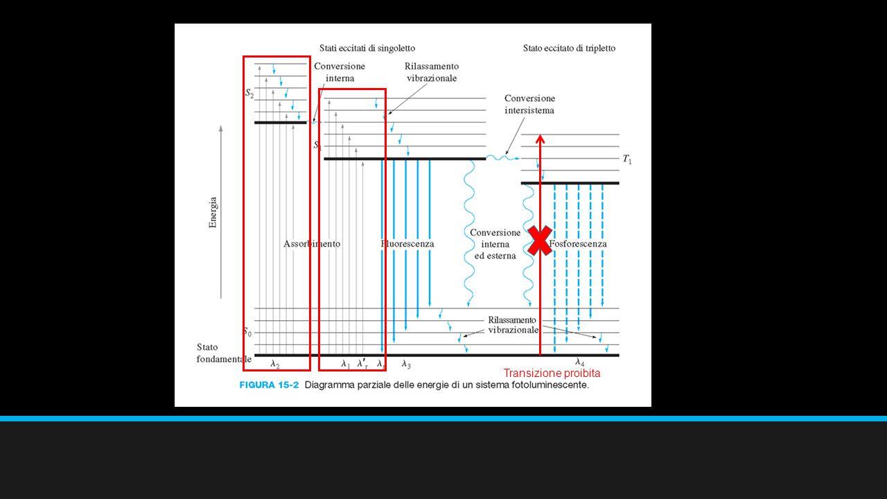 Efficienza quantica e tipi di transizione LA FLUORESCENZA È PIÙ FREQUENTEMENTE ASSOCIATA CO LE TRANSIZIONI Π*  Π, PERCHÉ QUESTE HANNO UNA VITA MEDIA PIÙ BREVE E PERCHÉ I PROCESSI DI DISATTIVAZIONE CHE COMPETONO CON LA FLUORESCENZA AVVENGONO CON MINORE FACILITÀ.