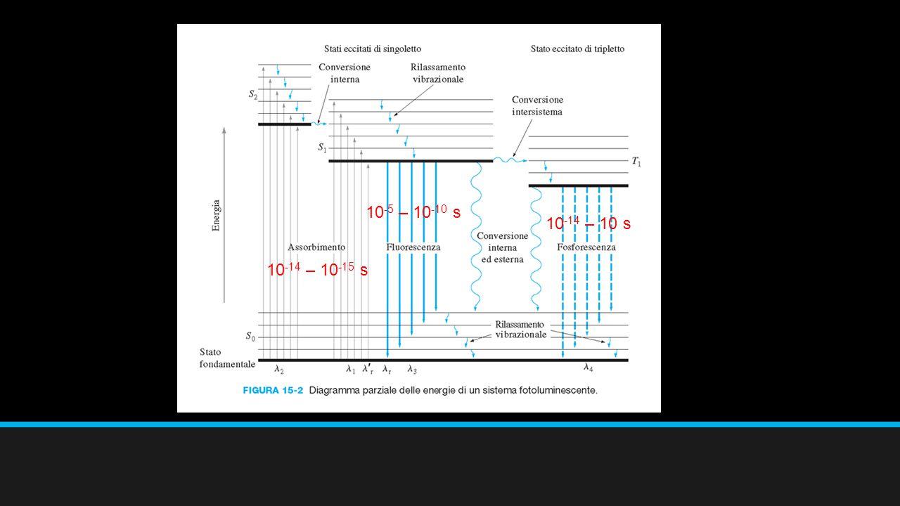 Processi di disattivazione L'emissione di un fotone di radiazione Processi non radianti Favorito il meccanismo con la vita medio dello stato ecittato minima.