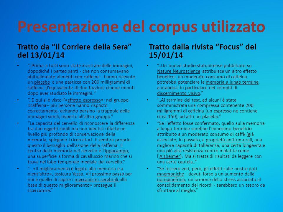 """Presentazione del corpus utilizzato Tratto da """"Il Corriere della Sera"""" del 13/01/14 """"..Prima a tutti sono state mostrate delle immagini, dopodiché i p"""