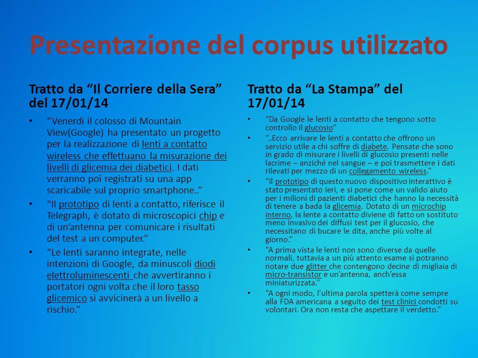 """Presentazione del corpus utilizzato Tratto da """"Il Corriere della Sera"""" del 17/01/14 """"Venerdì il colosso di Mountain View(Google) ha presentato un prog"""