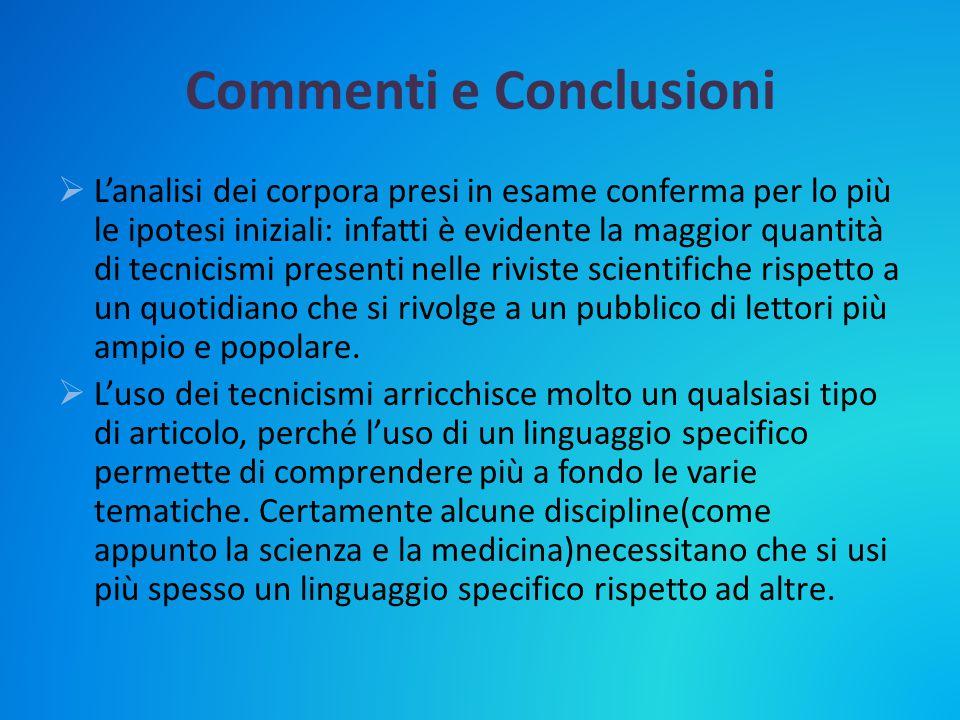 Commenti e Conclusioni  L'analisi dei corpora presi in esame conferma per lo più le ipotesi iniziali: infatti è evidente la maggior quantità di tecni