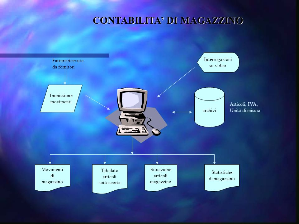 CONTABILITA' DI MAGAZZINO Fatture ricevute da fornitori Immissione movimenti Interrogazioni su video archivi Articoli, IVA, Unità di misura Movimenti