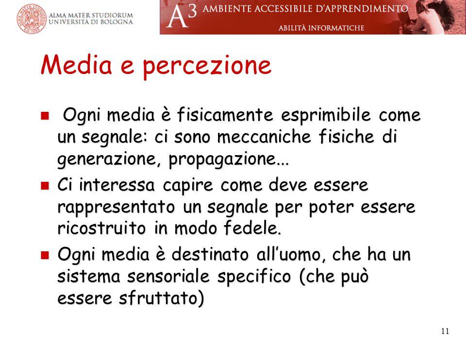 Media e percezione Ogni media è fisicamente esprimibile come un segnale: ci sono meccaniche fisiche di generazione, propagazione... Ogni media è fisic