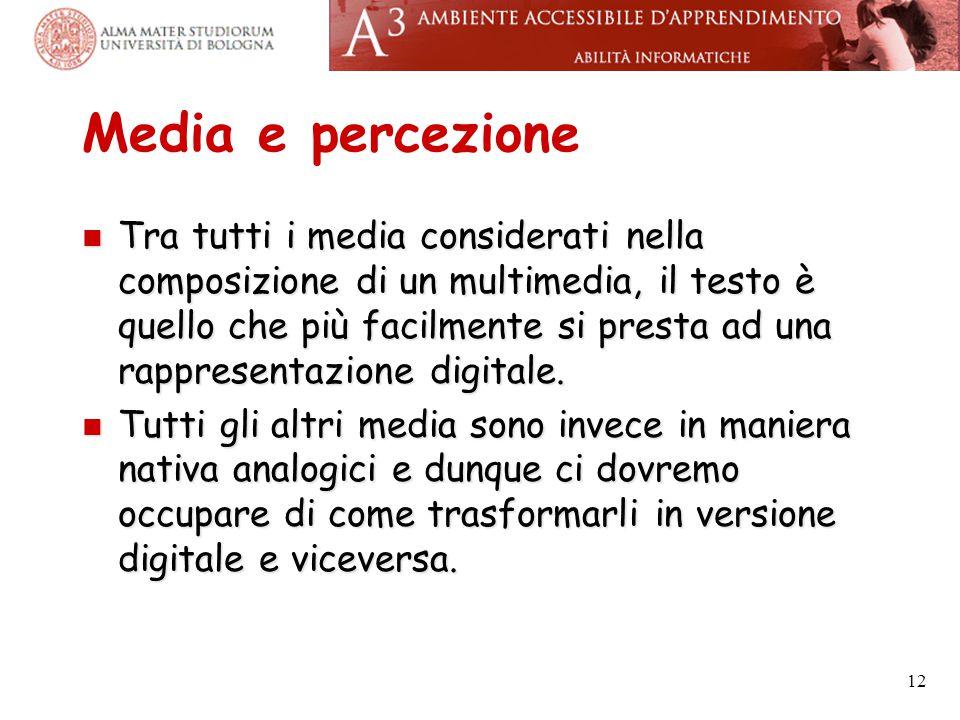 Media e percezione Tra tutti i media considerati nella composizione di un multimedia, il testo è quello che più facilmente si presta ad una rappresent