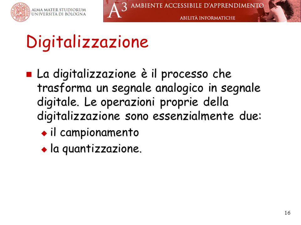 Digitalizzazione La digitalizzazione è il processo che trasforma un segnale analogico in segnale digitale. Le operazioni proprie della digitalizzazion