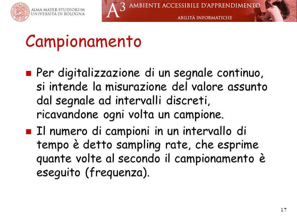 Campionamento Per digitalizzazione di un segnale continuo, si intende la misurazione del valore assunto dal segnale ad intervalli discreti, ricavandon