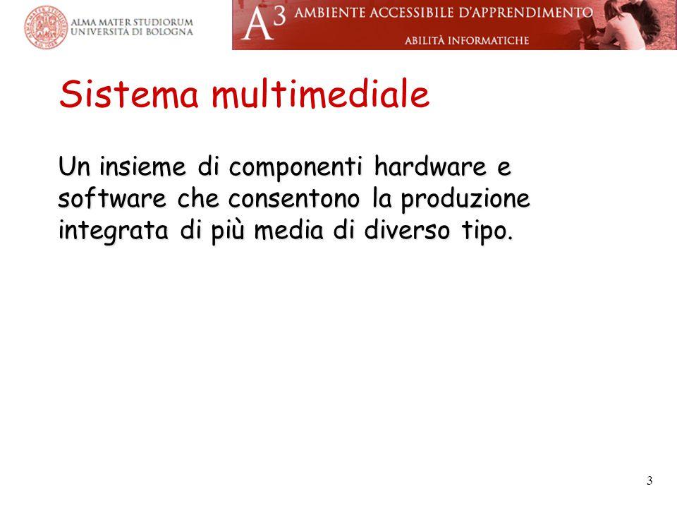 Sistema multimediale Un insieme di componenti hardware e software che consentono la produzione integrata di più media di diverso tipo. 3