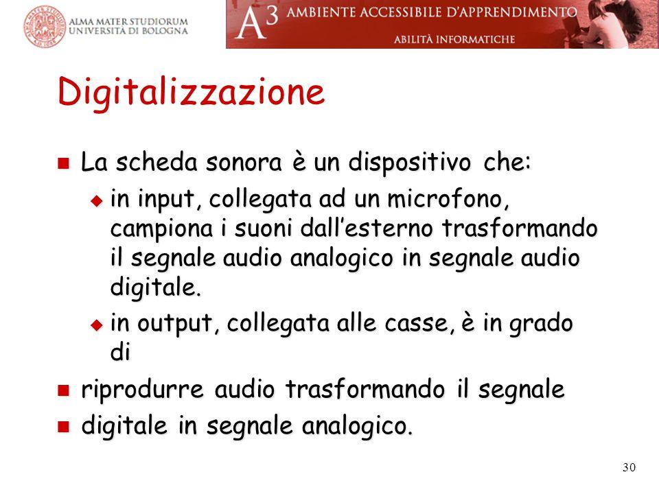 Digitalizzazione La scheda sonora è un dispositivo che: La scheda sonora è un dispositivo che:  in input, collegata ad un microfono, campiona i suoni