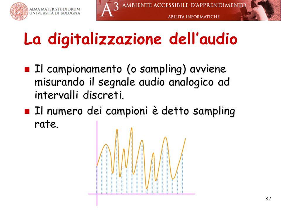 La digitalizzazione dell'audio Il campionamento (o sampling) avviene misurando il segnale audio analogico ad intervalli discreti. Il campionamento (o