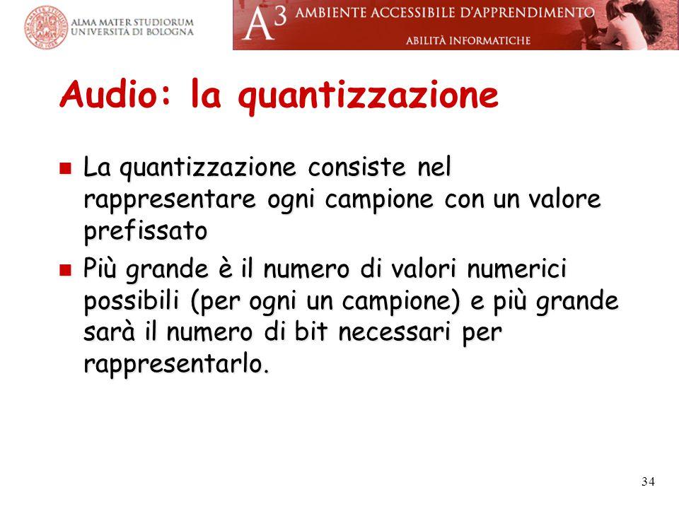 Audio: la quantizzazione La quantizzazione consiste nel rappresentare ogni campione con un valore prefissato La quantizzazione consiste nel rappresent