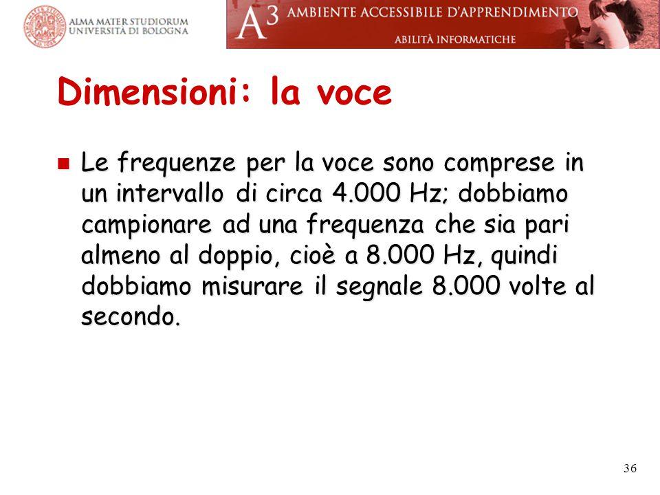 Dimensioni: la voce Le frequenze per la voce sono comprese in un intervallo di circa 4.000 Hz; dobbiamo campionare ad una frequenza che sia pari almen