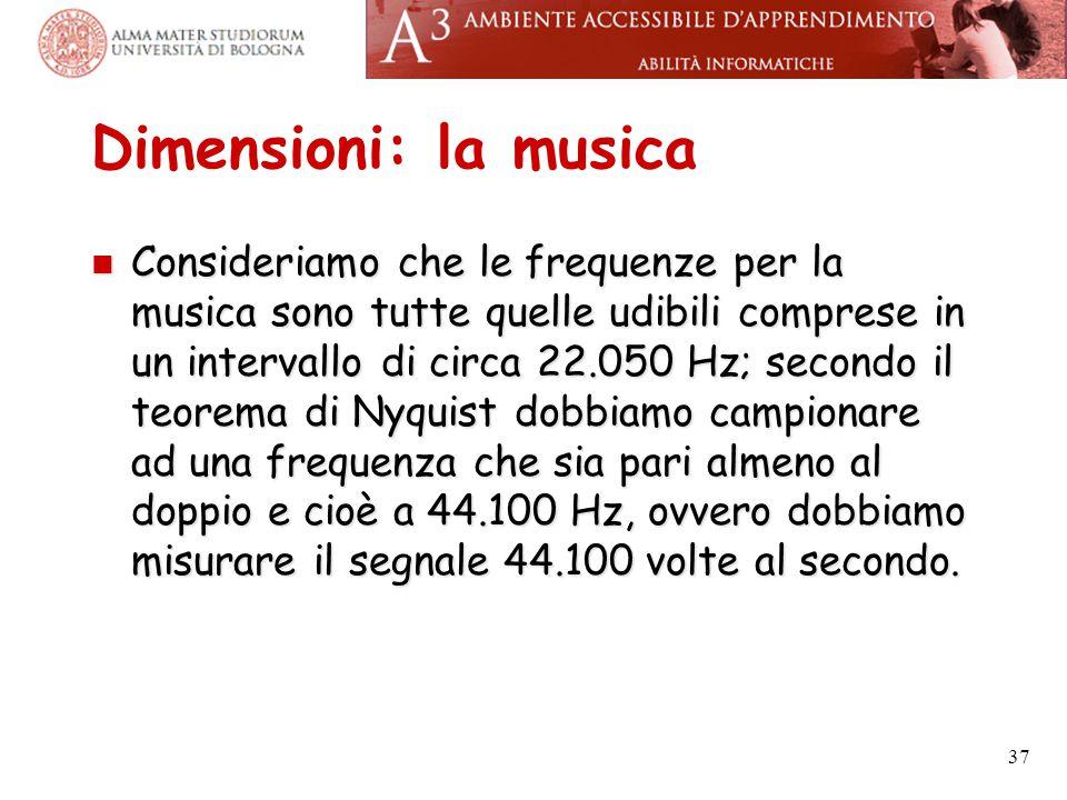 Dimensioni: la musica Consideriamo che le frequenze per la musica sono tutte quelle udibili comprese in un intervallo di circa 22.050 Hz; secondo il t