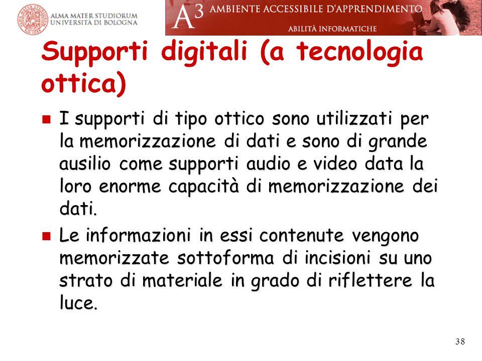 Supporti digitali (a tecnologia ottica) I supporti di tipo ottico sono utilizzati per la memorizzazione di dati e sono di grande ausilio come supporti