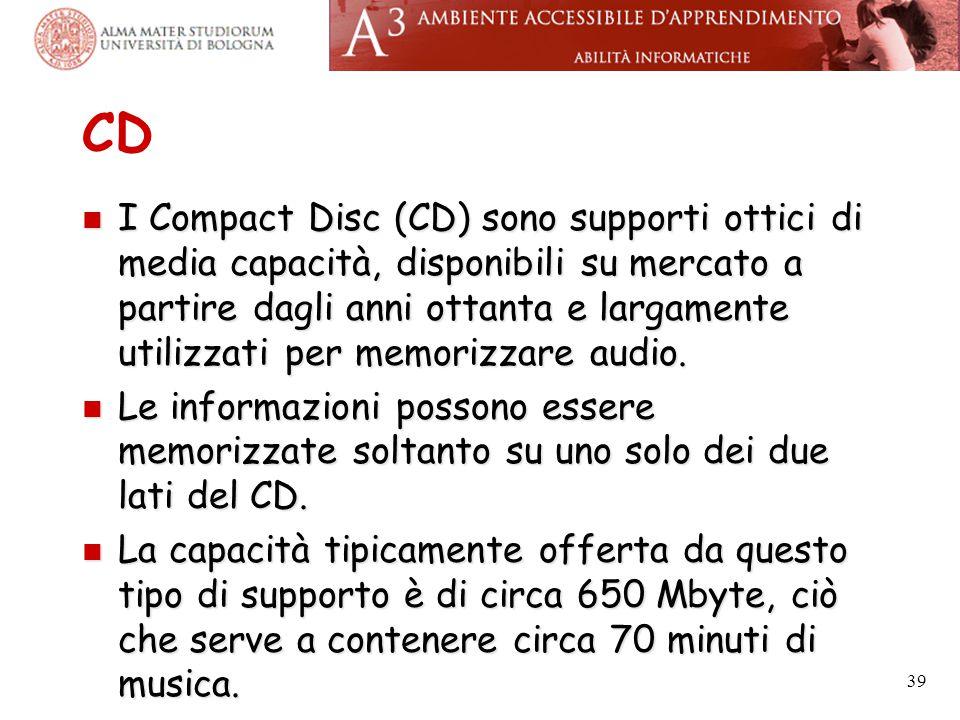 CD I Compact Disc (CD) sono supporti ottici di media capacità, disponibili su mercato a partire dagli anni ottanta e largamente utilizzati per memoriz