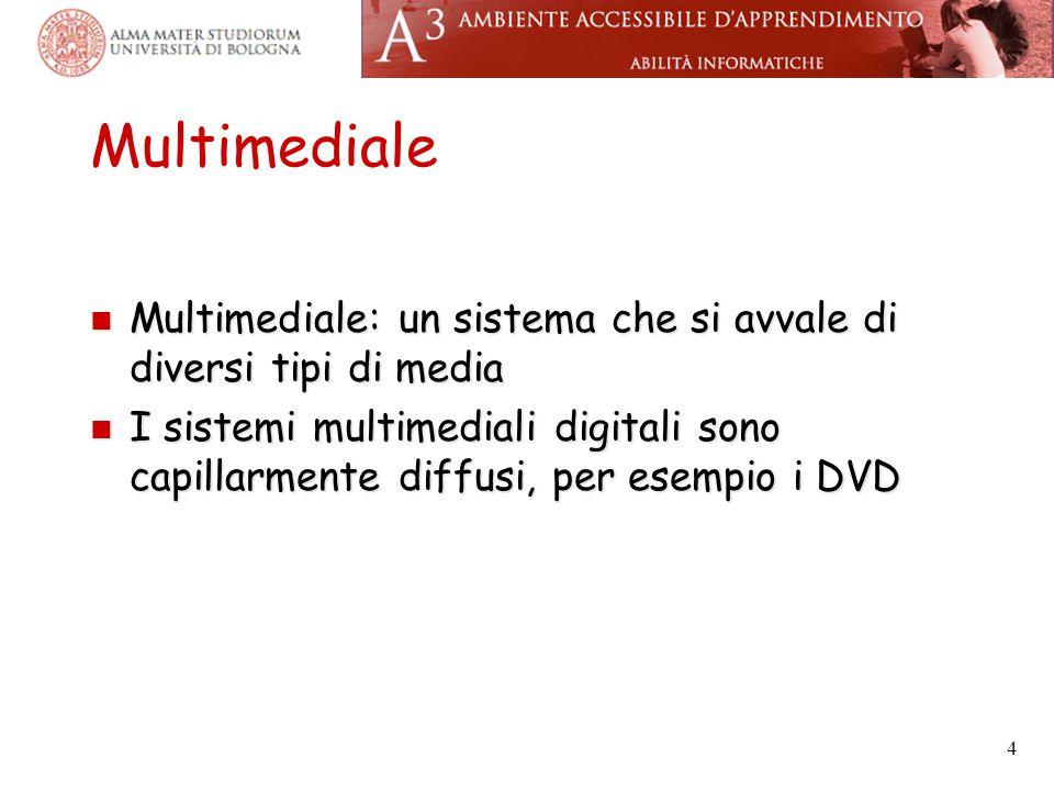 Multimediale Multimediale: un sistema che si avvale di diversi tipi di media Multimediale: un sistema che si avvale di diversi tipi di media I sistemi