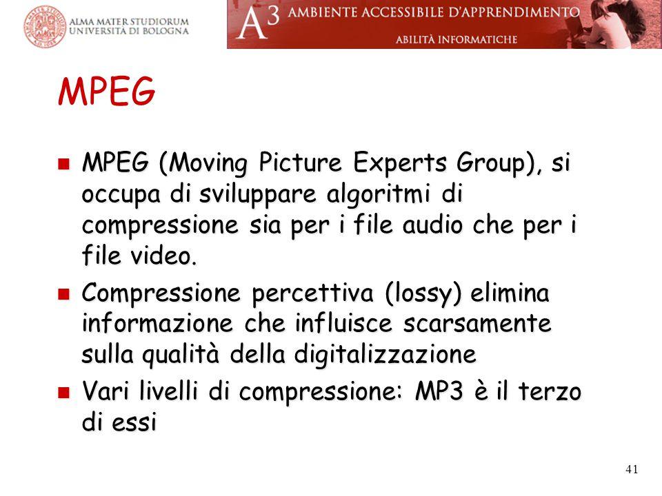 MPEG MPEG (Moving Picture Experts Group), si occupa di sviluppare algoritmi di compressione sia per i file audio che per i file video. MPEG (Moving Pi