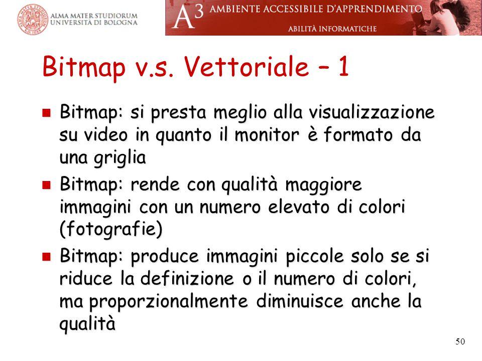 Bitmap v.s. Vettoriale – 1 Bitmap: si presta meglio alla visualizzazione su video in quanto il monitor è formato da una griglia Bitmap: si presta megl