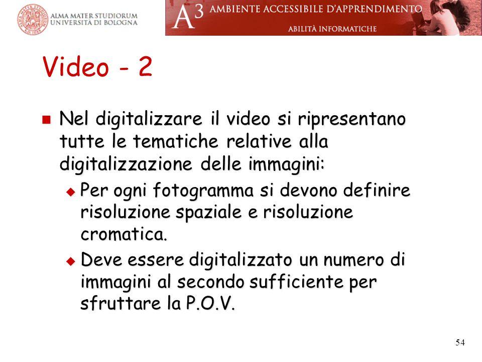 Video - 2 Nel digitalizzare il video si ripresentano tutte le tematiche relative alla digitalizzazione delle immagini: Nel digitalizzare il video si r