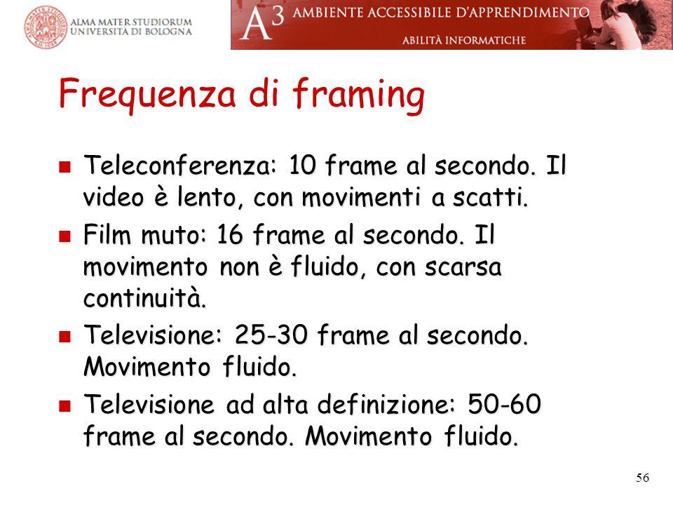 Frequenza di framing Teleconferenza: 10 frame al secondo. Il video è lento, con movimenti a scatti. Teleconferenza: 10 frame al secondo. Il video è le
